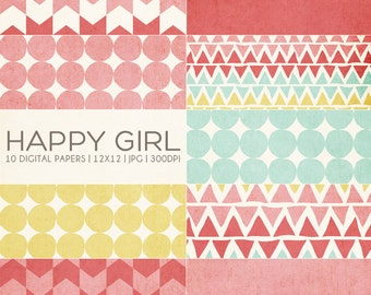 12x12 Digital Paper Collection - Happy Girl - Great for Photographers or Scrapbooking - 10 .JPG files - PX8020 Instant Download!