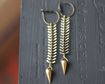 Pendulum Earrings,  Brass Spike on Fish Bone Chain Dangles, Tribal, Industrial, Raw Gold Brass, Gift Box