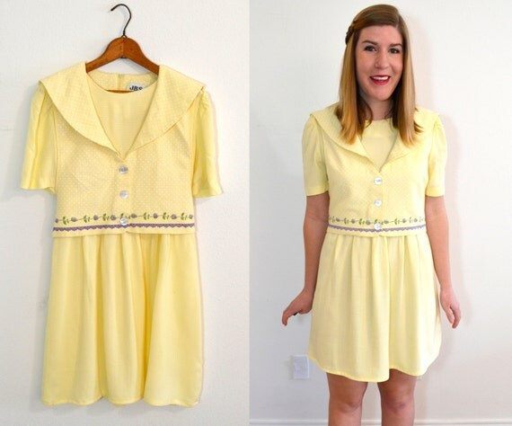 SALE Pale Yellow Dress Summer Dress Nautical Dress
