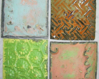 AUTHENTIC Tin Ceiling 6x6  Set of 4 Crafts Art Tiles S 1224-13