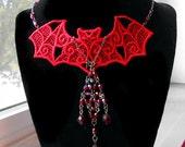 PRICE DROPPED Red Bat  Lace Hand Dyed Bib Necklace Swarovski Vintage