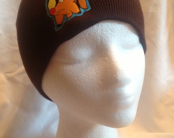 Pokemon Tepig Beanie Skullcap Hat - made with up-cycled Pokemon fabric