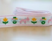 Pastel Donkeys Pulling Wagons - New Old Stock Vintage Embroidered Fabric Trim Animals Tulips