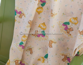 Mod Big Hair Girls - Vintage Fabric  Juvenile New Old Stock 70s Stripes Kittens Daisies Butterflies