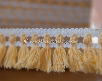 Fun Fringe - 3 yards Vintage Trim New Old Stock 60s 70s Mod White Yellow