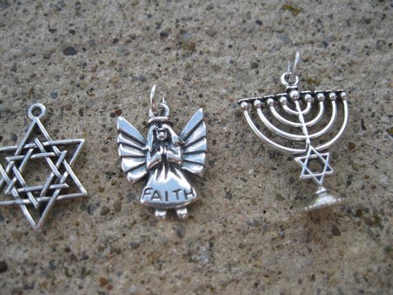 Sterling Silver Star of David, Faith Angel or Menorah- Add to custom bracelet