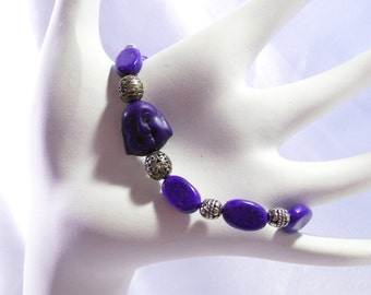 Wrist Mala Japa Tibetan Buddha Brown Purple River Stones  Bracelet  Elastic Stretchy