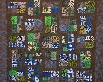 Patchwork Quilt - blue, green and brown African Fractions throw
