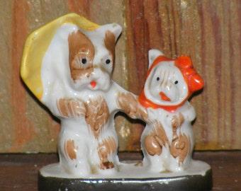 Vintage Bisque Terriers or Scottie Dog with Umbrella Figurine marked Japan