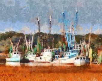 Shrimp Boats, St. Helena Island, SC - Giclee Print