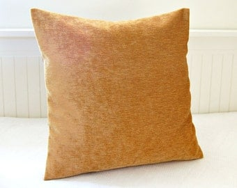 honey gold accent pillow cover, 16 inch gold solid decorative pillow cover