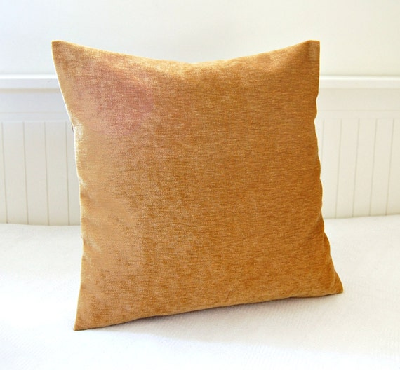 Honey Gold Throw Pillow : honey gold accent pillow cover 14 inch gold solid decorative