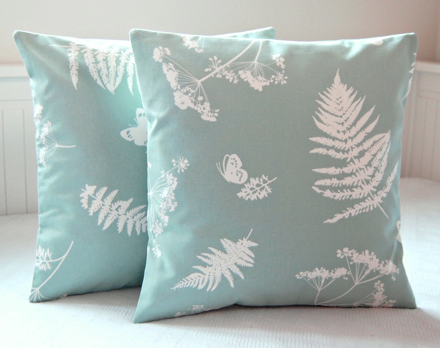 16 inch duck egg blue white cushion cover ferns butterflies. Black Bedroom Furniture Sets. Home Design Ideas