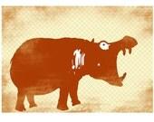 Hippos enormous mouth -  Kids Art Prints, hippotamus, nursery decor, wide mouth hippo, nursery hippo, hippotamus art