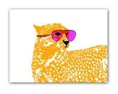 Cool Cheetah with sun glasses on -  Kids Art Prints, leopard, nursery decorating ideas, baby nursery, cheetah
