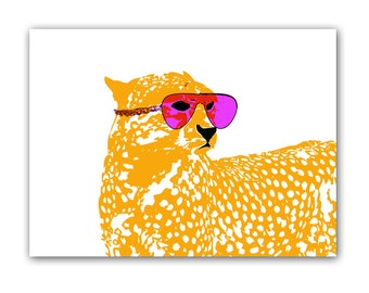 Cool Cheetah with sun glasses on -  Kids Art Prints, leopard, nursery decorating ideas, baby nursery, cheetah