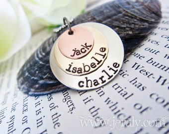 Personalized Name Necklace Custom Stamped for You - Three Stacked Discs - NO Birthstone Charms