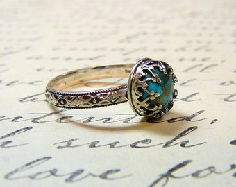 Roxy Ring - Beautiful Gothic Vintage Sterling Silver Floral Band Ring with and Heart Bezel set with Blue Copper Turquoise
