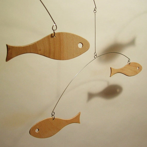 Modern art wood baby mobile for nursery mid century fish retro - Mid century mobel ...