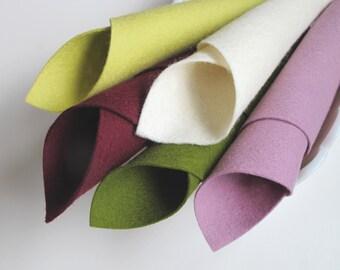 Wool Felt Set, Orchid Color Story, Pure Merino Wool, DIY Felt Crafts, Felt Flowers, Applique, Ecru, Merlot, Olive, Soft Plum, Yellow Green