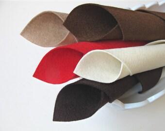 Wool Felt Sheets, Strawberry Sundae Color Story, Merino Wool, Felt Fabric, Red, Brown, Ecru, Beige, Dark Brown, Waldorf Handwork, DIY Crafts