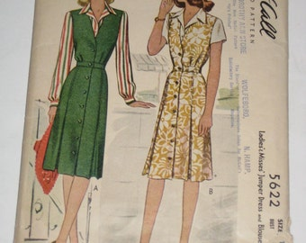 Vintage (1944) McCall Sewing Pattern - Womens Jumper Dress and Blouse- for Sewing or Crafting