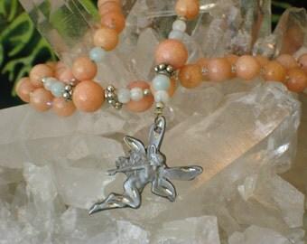 Peach Quartz Moonstone Amazonite Rosary Necklace Fairy