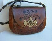 Vintage 70's Tooled Leather Shoulder Bag - Jenny