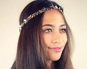 CHAIN HEADPIECE- chain headdress head chain silver leaf