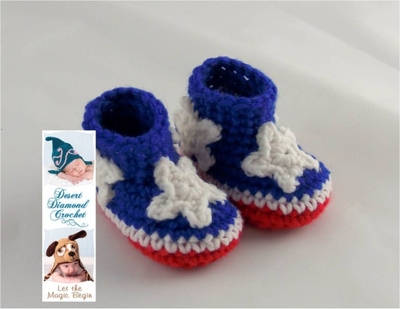Crochet Pattern 085 - Patriotic Baby Booties - 5 Sizes
