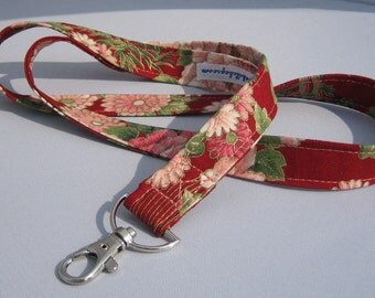 ID Badge Lanyard in floral pattern on red