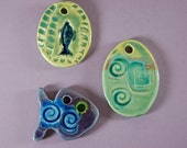 Three Glass Infused Focal Pendants J48 Supplies Create Gifts