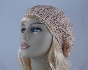 Cotton Light Weight Hand Knit Oversized Beret Cable Stitch