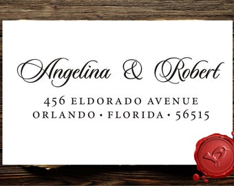 RETURN ADDRESS STAMP Custom Calligraphy Personalized Address Stamp Wood handle mounted rubber stamp - Label 1172M