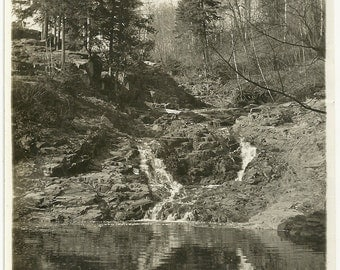 Vintage Artisitic Landscape Photo Small Waterfalls From Creek Into Lake In Forest Photograph