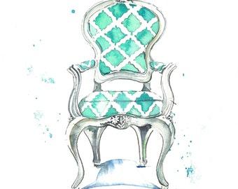 Watercolor Chair Art Print-Aqua Chair Painting-Chair Wall Art-Girls Room-Office Art-Various Sizes