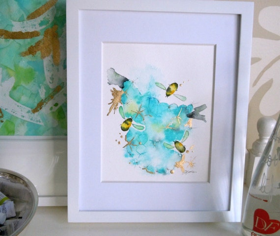 "Bee Watercolor Painting, Original, Fine Art, ""Flight of the Bumblebees No. 11"" - 9x12"