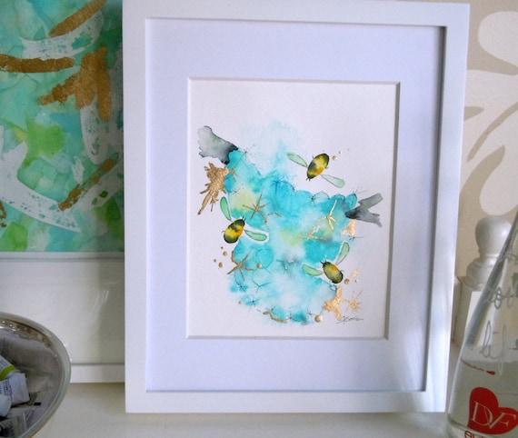 "Bee Watercolor Painting, Original, Fine Art, ""Flight of the Bumblebees No. 11"" - 9x12"