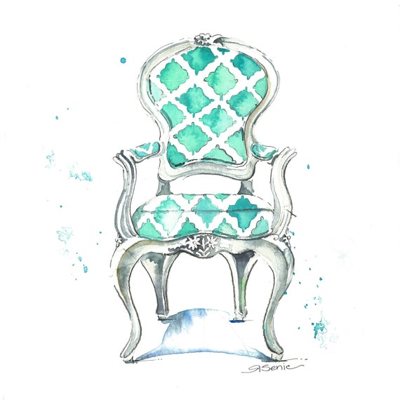 "Aqua Chair Print, Chair Art, Chair Decor, ""Sophia Chair"", 14x14"