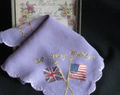 """Vintage """"To My Mother"""" Military Embroidered Hankie Memorabilia"""