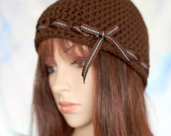 Crochet Hat Beanie Cloche  - Brown, with Brown and Aqua Ribbon Tie