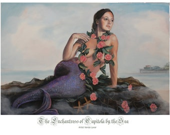 Mermaid of the Purple tail and Pink Flowers