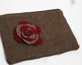 Burlap Clutch Bag - Burlap Pouch - Burlap felt Flower Pouch - Flower pouch - SALE