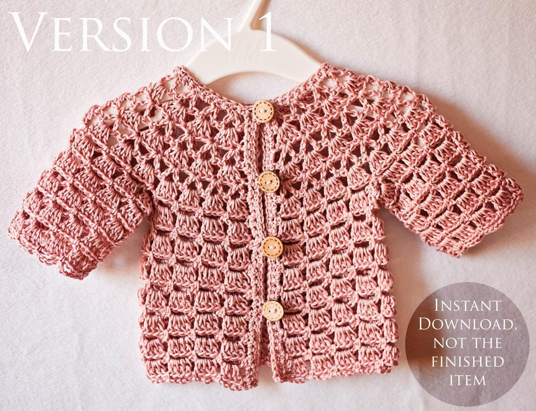 Crochet PATTERN Lace Cardigan one pattern two cardigans
