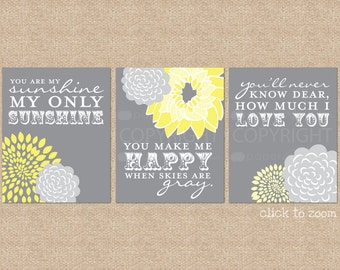 You are My Sunshine Nursery / Kids Room Giclée Art Prints // 3 Print Set // Custom match colors to your nursery/room // N-G03-3PS AA1
