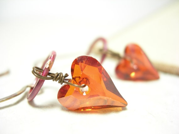 Red magma earrings rosy copper swarovski crystal wild hearts valentines