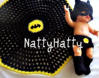 BATMAN Baby handmade crochet Set Hat diapercover blanket boots, batman newborn costume, baby  costume ,newborn  costume