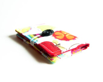 FREE SHIPPING, Gift Idea White Vegan wallet,  Fabric Business Card Case, white red, cloth wallet
