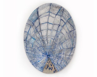 Brooklyn Bridge. Caught in a web II - original oval collage, painting on canvas. New York City, Manhattan,Wall Art, Ready to hang