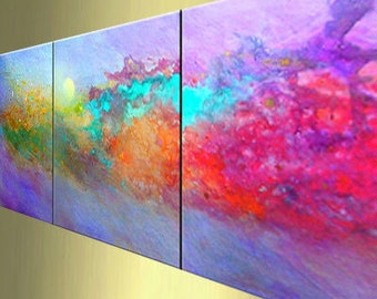 Original modern abstract painting triptych galler acrylic contemporary paintings fine art Carol Lee